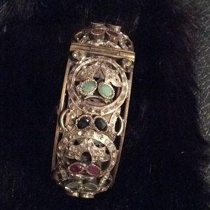 Vintage Semi precious Stone  brass bangle